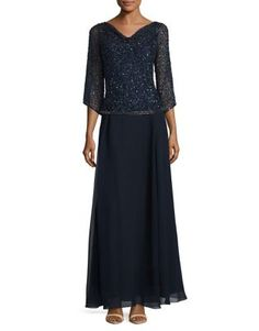 524d54a53edb9 J Kara Embellished Gown, Kara, V Neck Dress, Floral Lace, Mother Of