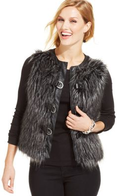 Jones New York Gray Faux-fur Pleather-trim Vest