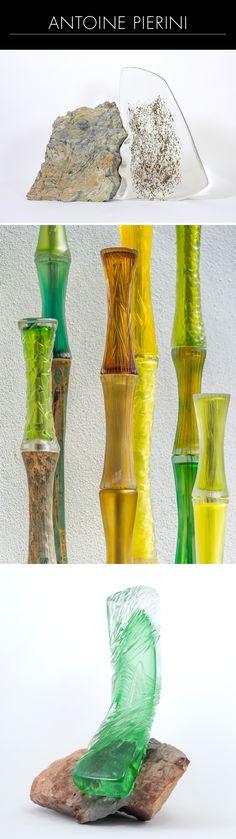 """Antoine Pierini est spécialisé en sculptures contemporaines à base de verre, façonnées à chaud à la canne et sculptées à froid. Sa démarche artistique l'évade dans un univers proche de la nature, retranscrit de manière moderne et épurée. 1/ """"On the Rock"""" sculpture en verre sur roche de la vallée des Merveilles. 2/ Sculpture """"Bambous"""" sur socle en métal 3/ """"On the rock"""" 2 (c) Gaëlle PIERINI"""