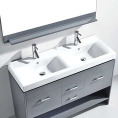 "Virtu Gloria 47"" Double Bathroom Vanity Set with Mirror & Reviews 