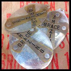 Custom order- stamped silver spoon pendants- made for Julie's Junquetique on… Silverware Jewelry, Spoon Jewelry, Cross Jewelry, Diy Earrings Easy, Spoon Art, Spoon Necklace, Julie, Silver Spoons, Stamp Making