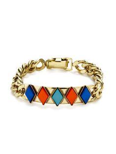 Anton Heunis Gold Link & Glass Stone Bracelet