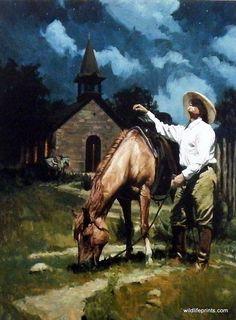 Western Artist Bruce Greene Cowboy Church Print Little Lanterns of God | WildlifePrints.com