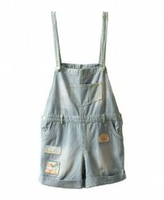 Stripe Short Denim Bib Overalls with Patches