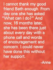 """""""I could never have done this without her support."""" Anne about her good friend Beth."""