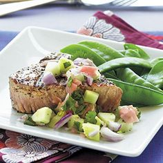 Grilled Tuna Steaks with Cucumber–Pickled Ginger Relish Recipe #fitfluential