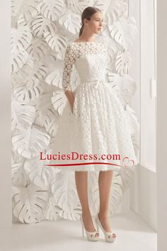 2017 Wedding Dresses A Line Scoop 3/4 Length Sleeves Lace Knee-Length US$ 189.99 LCP822H3PR - LuciesDress.com for mobile