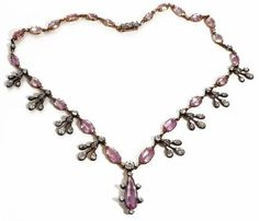Victorian Pink Topaz and Diamond Necklace