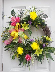 Spring Floral Wreath Spring Wreath Spring Door Wreath