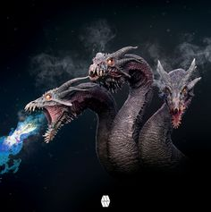 Hydra Dragon Concept Bust By Marcus Whinneythe Hydra Dragon Bust Concept Was Created In Zbrush And Composited In Ph Dragon Art Mythical Creatures Cool Monsters