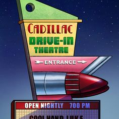 Cadillac DriveIn Googie Sign by ChetArt on Etsy, $18.00
