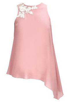 Onion pink floral embroidered asymmetrical top available only at Pernia's Pop-Up Shop.