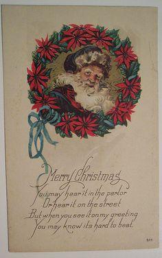 Divided Back Postcard Merry Christmas with Santa and Wreath Santa Claus Vintage Christmas Ornaments 1950s, Vintage Christmas Images, Victorian Christmas, Vintage Santas, Christmas Pictures, Christmas Postcards, Vintage Holiday, Xmas Greeting Cards, Vintage Greeting Cards