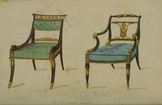 1814 - Drawing Room Chairs (oh look at my pretty chairs, sit a while but don't dare lean back) EKDuncan - My Fanciful Muse: Regency Furniture 1809 Ackermann's Repository Series 1 Vintage Furniture Design, Regency Furniture, Miniature Houses, Drawing Room, Dining Chairs, Room Chairs, Victorian, Fancy, Antiques