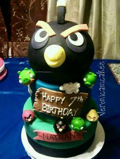 Black Angry birds cake for Jackson