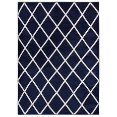 "Jasmin Collection Moroccan Trellis Area Rug (5'3 x 7'3) (63""X87"" Navy (Blue))"