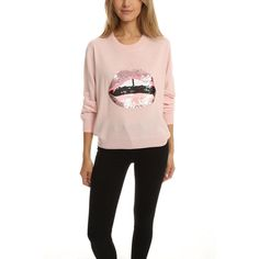 Markus Lupfer Lara Lip Joey Sweater ($385) ❤ liked on Polyvore featuring tops, sweaters, sweaters knits, women, loose sweater, lip top, sequin sweater, loose fit tops and sequin top