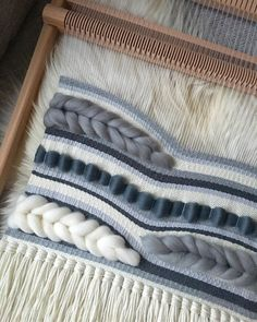 """Sarah Renwick on Instagram: """"A very grey weave in progress for one of the most colourful ladies in my life ✨✨ It's SO cold in the North East today and forecast to snow…"""" Weaving Designs, Weaving Patterns, Crochet Patterns, Weaving Textiles, Tapestry Weaving, Yarn Needle, Needle Felting, Yarn Wall Art, Weaving Wall Hanging"""
