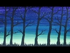 Acrylic Painting - Simple Trees Silhouette - YouTube