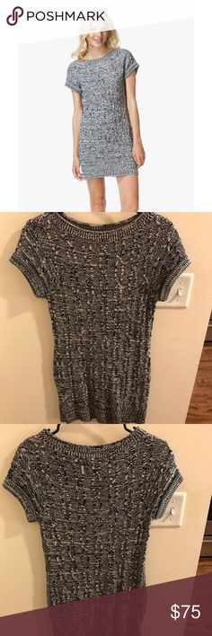 Rag & Bone Ginny Cable Knit Sweater Dress Gorgeous & comfortable cable knit sweater t-shirt dress. This dress is perfect for both casual and conservative events. In perfect condition & only worn a few times! Colors are navy/black/white rag & bone Dresses Mini