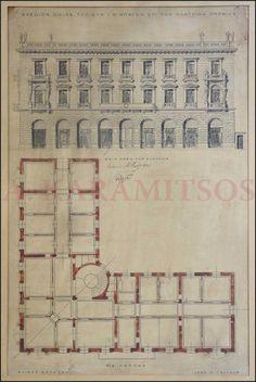 """ZILLER Ernst - Ξενοδοχείο """"ΜΠΑΓΚΕΙΟΝ"""" 1889. Σχέδιο του αρχιτέκτονα Ερνστ Τσίλλερ """"1889 Ε. ΤΣΙΛΛΕΡ"""", υπογεγραμμένο από τον Ιωάννη ΜΠΑΓΚΑ, με τίτλο """"ΣΧΕΔΙΟΝ ΟΙΚΙΑΣ ΤΟΥ ΚΥΡ. Ι. Μ. ΜΠΑΓΚΑ ΕΠΙ ΤΗΣ ΠΛΑΤΕΙΑΣ ΟΜΟΝΙΑΣ"""". Αποτυπώνεται η """"ΟΨΙΣ ΠΡΟΣ ΤΗΝ ΠΛΑΤΕΙΑΝ"""" καθώς και η κάτοψη """"Β!Α! ΠΑΤΩΜΑ"""". Σχέδιο διαστάσεων 38x58 cm με μελάνι & ακουαρέλα. """"ΚΛΙΜΑΞ 0,01=1,00"""". Σε κάδρο 72x52 cm. Στο παρόν σχέδιο το κτίριο εμφανίζεται με 3 ορόφους. Ο 4ος όροφος προστέθηκε στις αρχές του 20ού αιώνα."""
