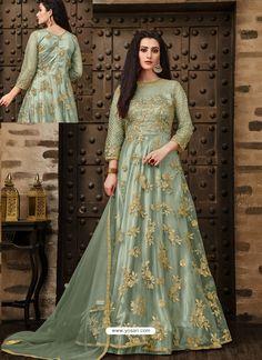 8dc539d827 Scintillating Green Embroidered Designer Anarkali Suit
