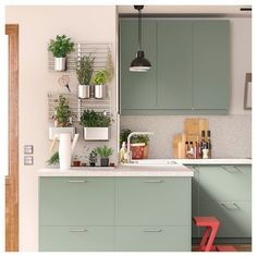 There is no question that designing a new kitchen layout for a large kitchen is much easier than for a small kitchen. A large kitchen provides a designer with adequate space to incorporate many convenient kitchen accessories such as wall ovens, raised. Ikea Kitchen, Kitchen Interior, Kitchen Decor, Kitchen Cabinets, Kitchen Ideas, Coastal Interior, Green Cabinets, Diy Interior, Tv Cabinets