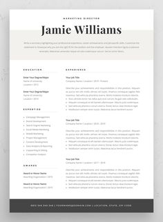 Resume template for building a stand-out job application. Creative and elegant design, easy to fill in. Includes one-page and two-page resume templates, cover letter and references in matching designs. Visual Resume, Basic Resume, One Page Resume, Professional Resume, Graphic Resume, Free Resume, Resume Layout, Professional Development, Simple Resume Template