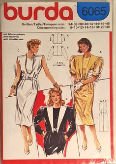Burda 6065 dress and jacket sewing pattern. This pattern is in it's original plastic sleeve. Factory folded and uncut. Sizes 8 - 10 - 12 - 14 - 16 - 18 - 20 - 22 (envelope is mis-marked). #forsale #sewing #pattern #burda #vintage