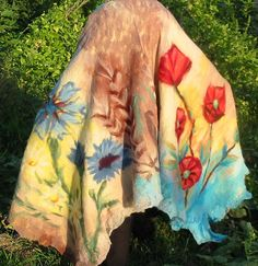 Felt Cape European Design Felt Wrap Shawl Merino Wool by RumiWay, $97.00