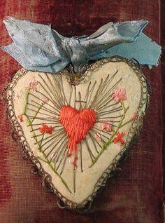 Embroidered Ex Voto I Love Heart, Tiny Heart, Textiles, Art Textile, Vintage Heart, Sacred Heart, Heart Art, Fabric Art, Samhain