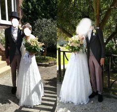 Robe de mariée bohème toute en dentelle de chez Mariage en Rose, mariage du 11 juillet 2020.
