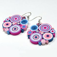 Colourful quilled earrings
