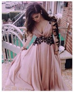 A22-Sexy Blush V-Neck Long Sleeves Backless Pleats Appliques Long Prom Dress