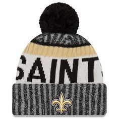 Men s New Orleans Saints New Era Black 2017 Sideline Official Sport Knit Hat 08711a859