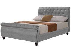 Windsor Silver Velvet Fabric Upholstered Sleigh Chesterfield Bed