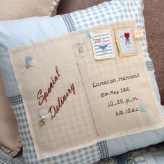 #Personalised, #bespoke #gifts @ Footprints of Time | Embroidered Initials #Cushion