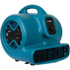 X-600A 1/3 HP Air Mover, Dryer, Floor Fan, Blower with Build-in GFCI Power Outlets - Blue