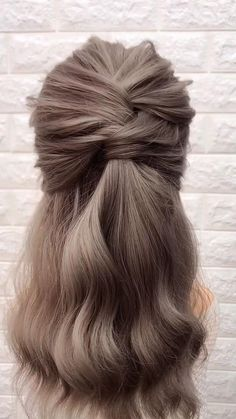 Easy Hairstyles For Long Hair, Cute Hairstyles, Braided Hairstyles, Wedding Hairstyles, Long Hair Half Updo, Medium Length Hair Braids, Styling Shoulder Length Hair, Style Long Hair, Long Bob Updo