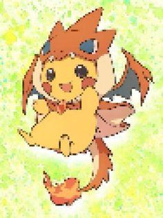 Mega charizard y pikachu pixilated