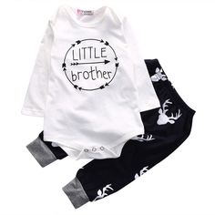 Sharemen Newborn Baby Boy Top Letter Print Romper Pants Leggings Outfits Set 03 Months White -- Continue to the product at the image link.-It is an affiliate link to Amazon. #BabyClothing https://presentbaby.com