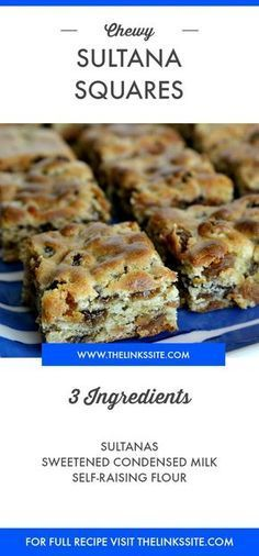 Chewy Sultana Squares Recipe with only 3 ingredient s Dessert Simple, Easy Desserts, Dessert Recipes, Recipes Dinner, Tray Bake Recipes, Awesome Desserts, 3 Ingredient Recipes, 3 Ingredient Fruit Cake Recipe, Easy Biscuit Recipe 3 Ingredients