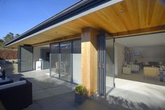 Bifold doors with integral blinds and flush threshold Roof Light, Folding Doors, Windows And Doors, Blinds, New Homes, Lights, Architecture, Building, Outdoor Decor