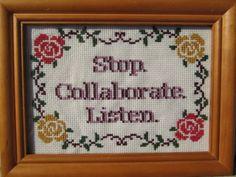 Stop Collaborate Listen Vanilla Ice Ice Baby Framed Cross Stitch Art, via Etsy