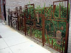 scrap metal, urban garden fence and gate