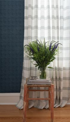 Maresca Textiles Hash Wallpaper in Dark Navy paired with Prairie Style Plaid linen drapery in Sage and Steelyard colorway Plaid Fashion, Textile Fabrics, Drapery Fabric, Dark Navy, Wallpaper, Wallpaper Desktop, Wallpapers, Wall Papers, Tapestry
