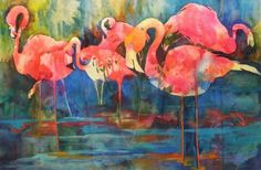Flirty Flamingos - reworked watercolor, painting by artist Kay Smith