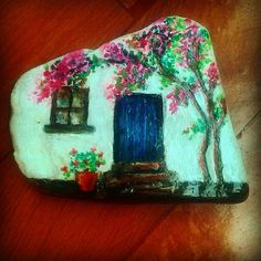 638 best images about rock painting Painted Garden Rocks, Painted Rocks Craft, Hand Painted Rocks, Pebble Painting, Pebble Art, Stone Painting, House Painting, Rock Painting Patterns, Rock Painting Designs
