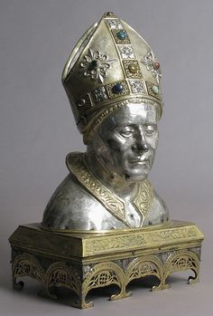 *Reliquary Head of Bishop. Date: 19th century (Late 15th century style). Culture: Italian (?). Medium: Silver, partial gilt, copper-gilt, cabochons, basse taille enamels.