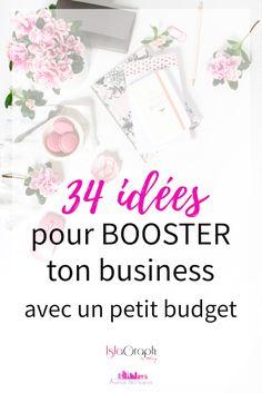 Tu cherches des idées pour Booster ton business mais tu n'as pas beaucoup de moyen? Je te donne 34 idées qui vont t'aider à donner un coup de Booste à ton Business avec cet article invité que j'ai écrit pour le site Avenue des Soeurs #business #businesswomen #entrepreneuse